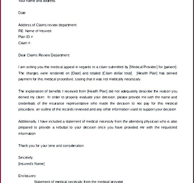 insurance appeal letter