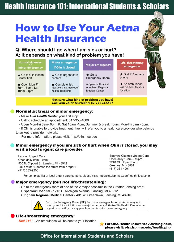 Aetna student health insurance card - insurance