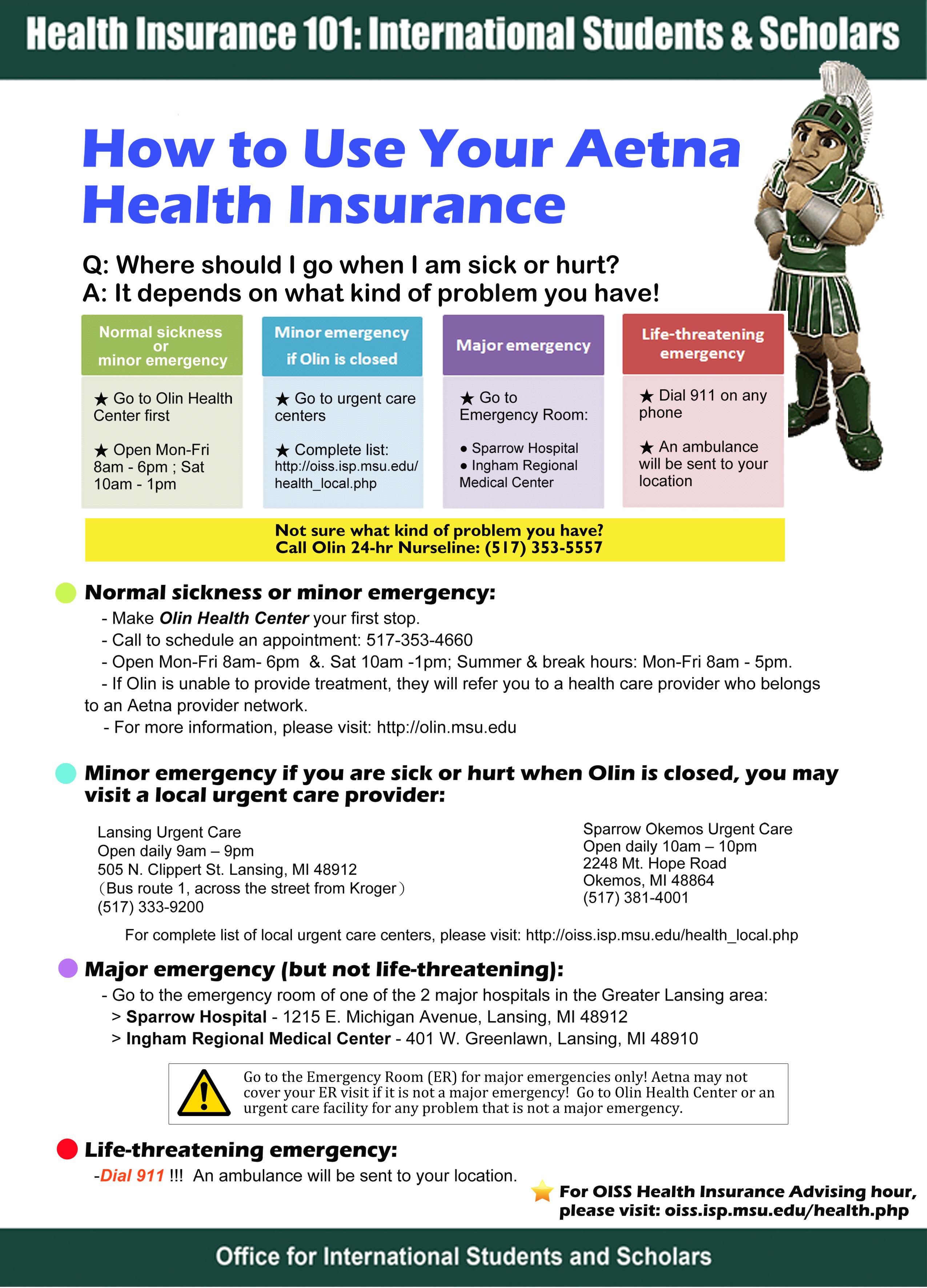 Aetna student health insurance card - insurance