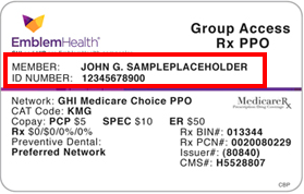Insurance group number on card - insurance