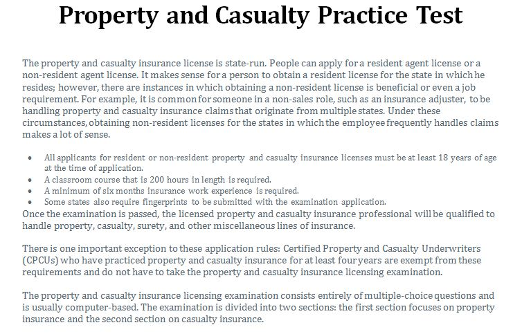 property and casualty insurance test photo - 1